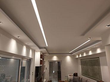 Σχέδιο κρυφού φωτισμού και οροφή σε οικία στο Νέο Ηράκλειο